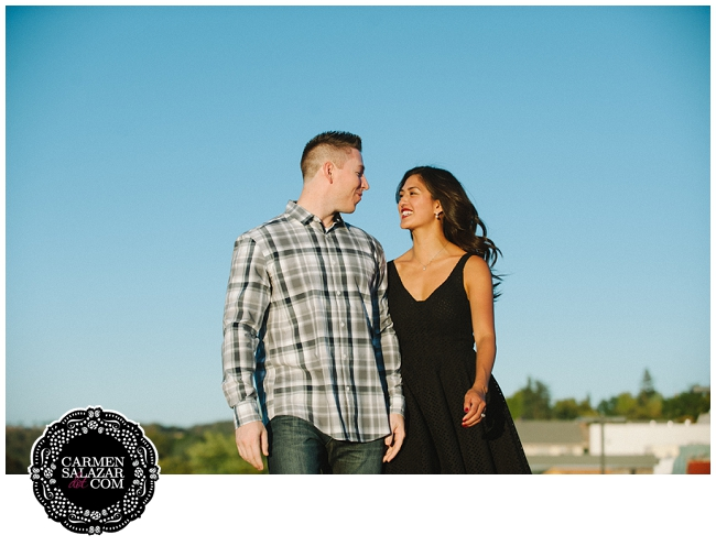Roof top engagement session in Old Folsom