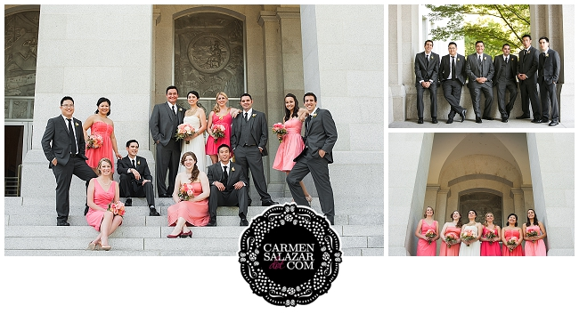 colorful bridal party photographs