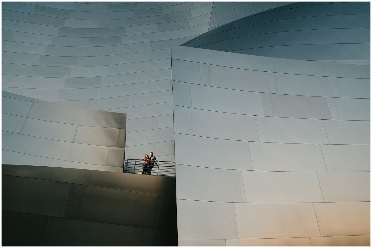 Dramatic Disney Hall engagement photo of couple