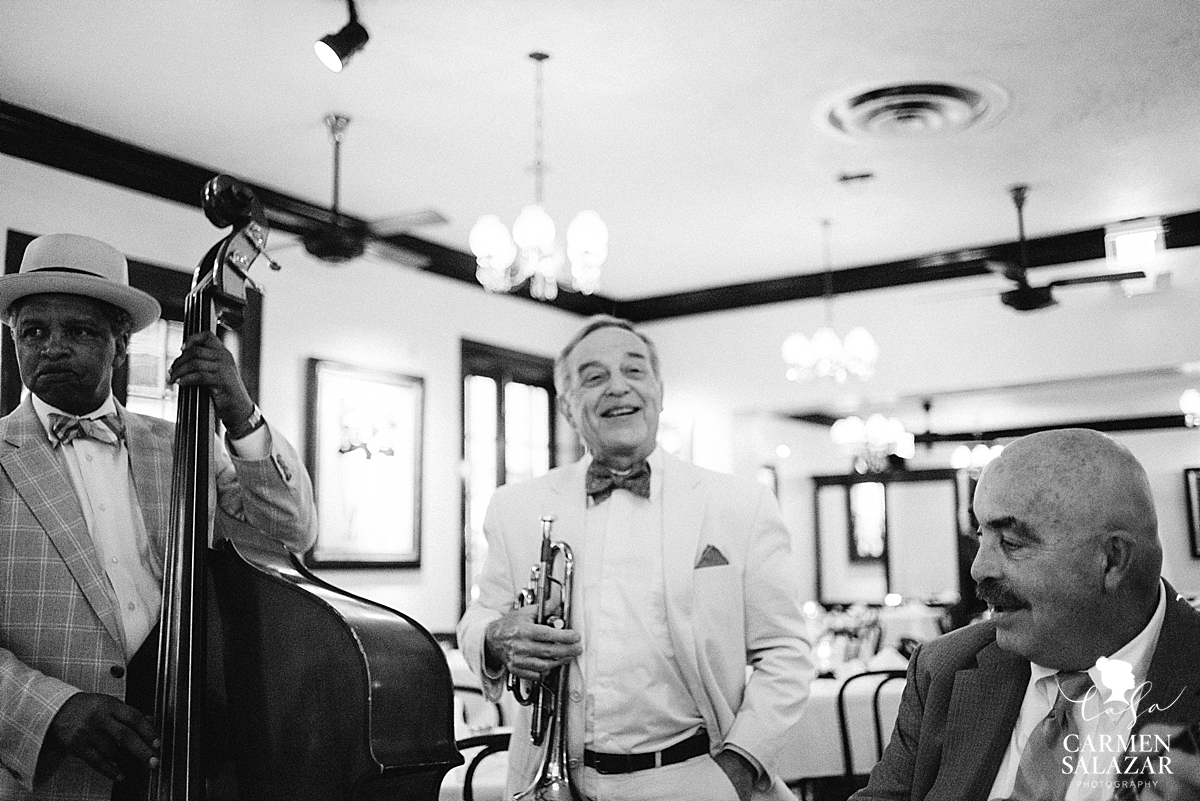 Black and white portrait of Cafe trio in New Orleans by Carmen Salazar