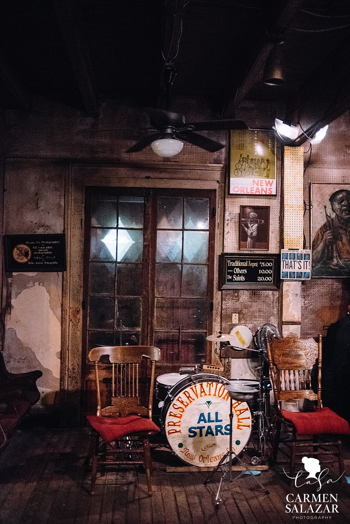 Preservation Hall setup in New Orleans by Carmen Salazar