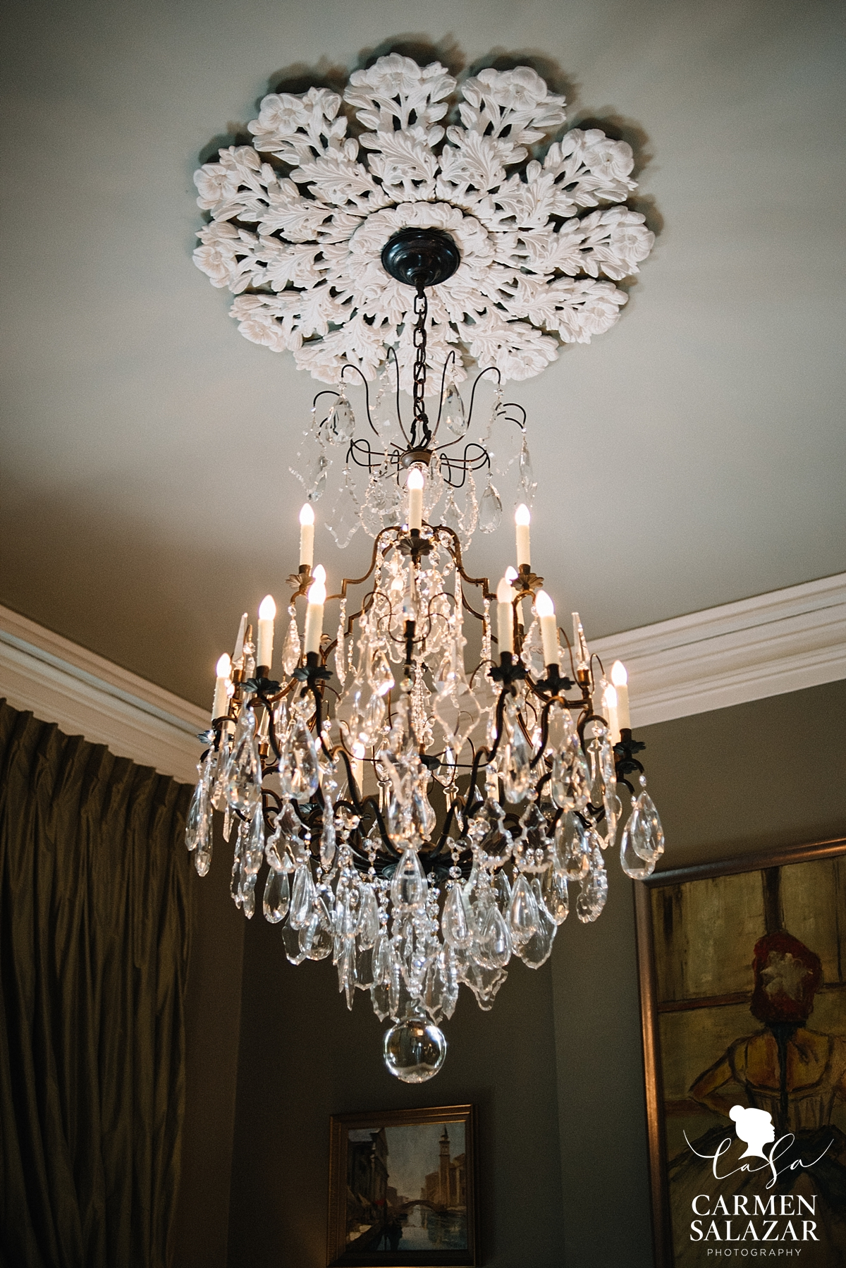 French inspired crystal chandelier in New Orleans by Carmen Salazar