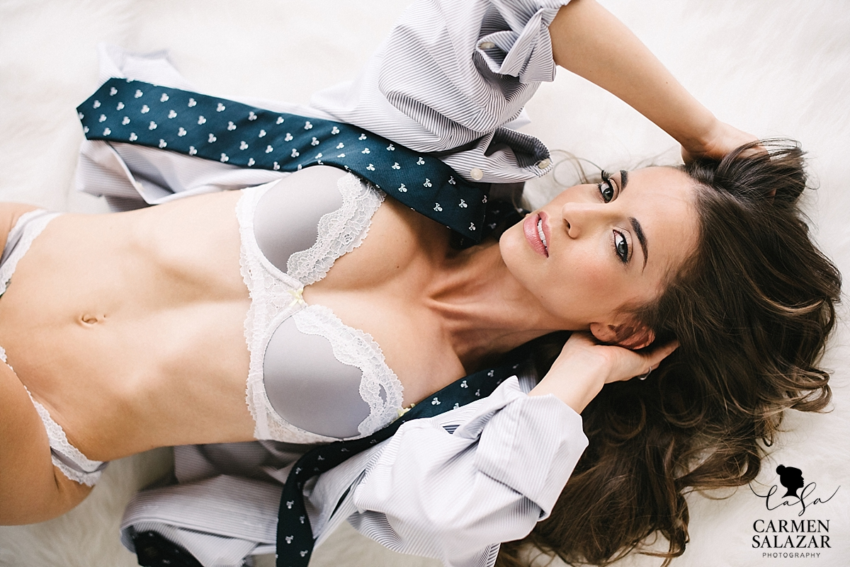 boudoir modeling husband's clothes