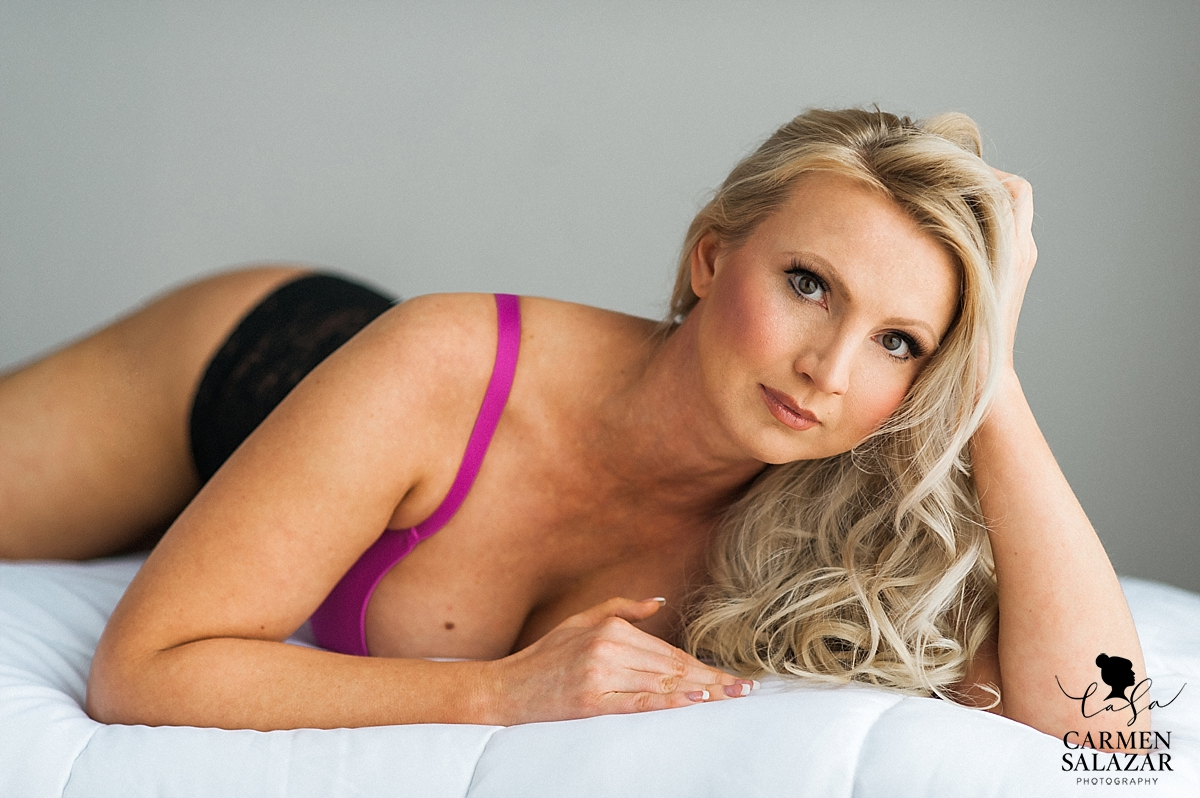 Blonde model boudoir session in Sacramento