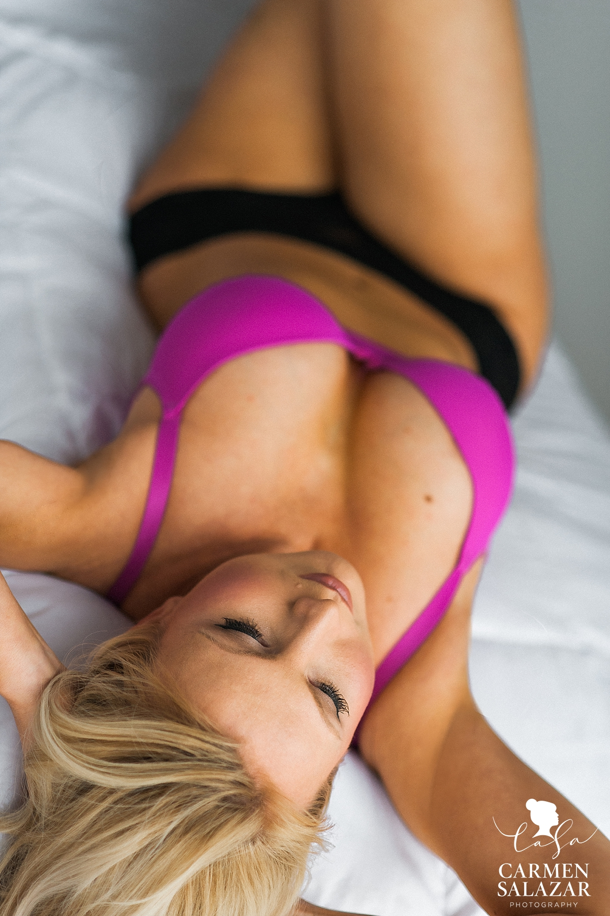 hot pink lingerie photo shoot in Sacramento