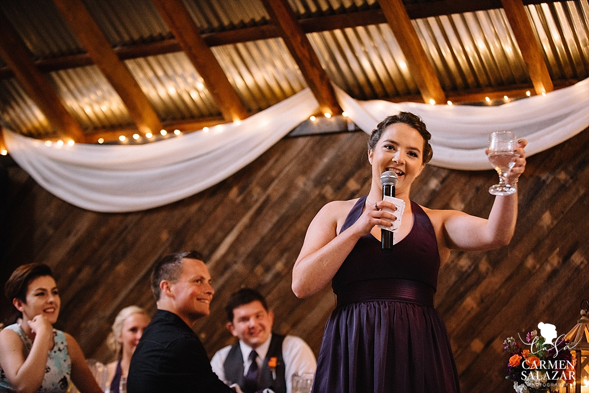 Charming wedding toast at Taber Ranch - Carmen Salazar