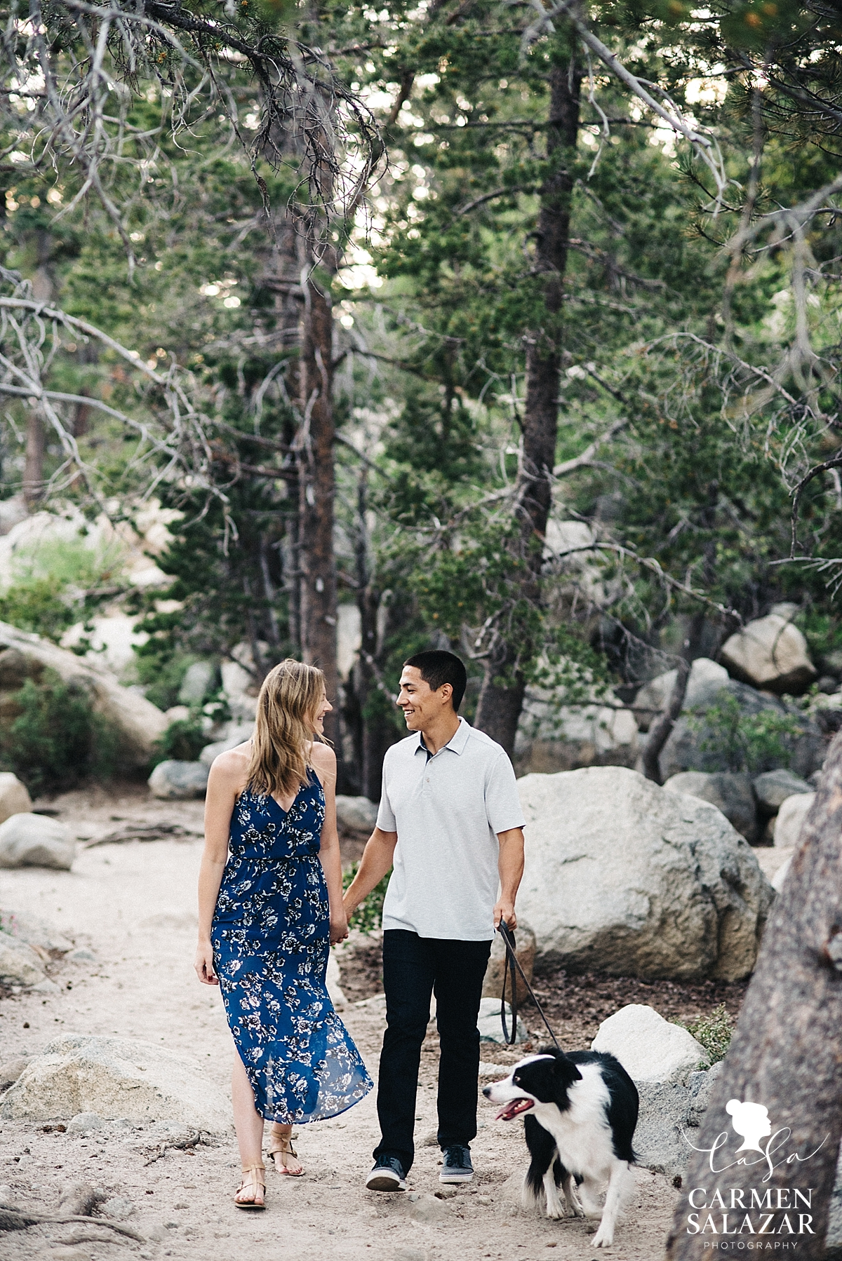 Adventurous Lake Tahoe couple with pet dog - Carmen Salazar