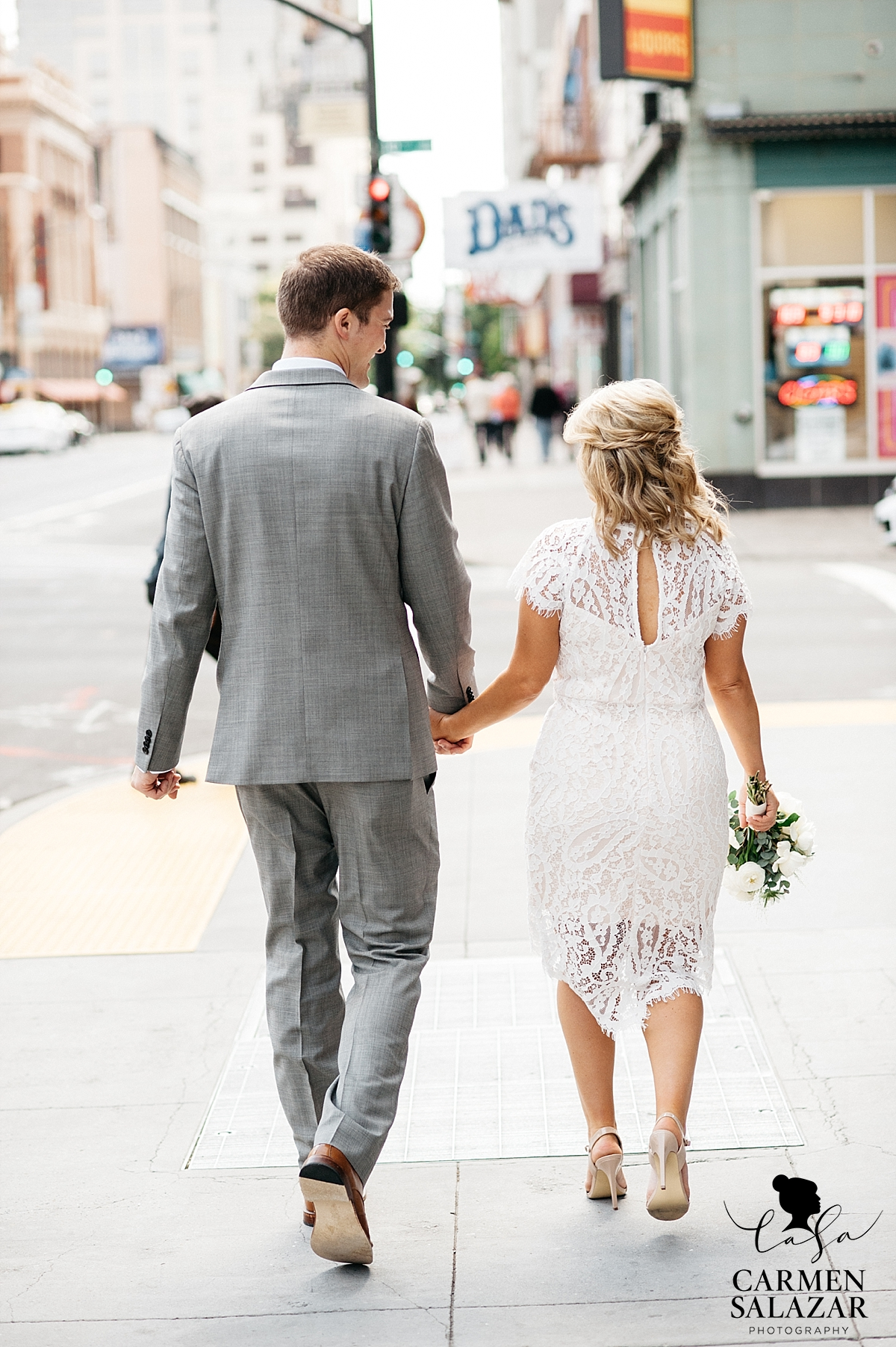 non traditional white lace wedding gown