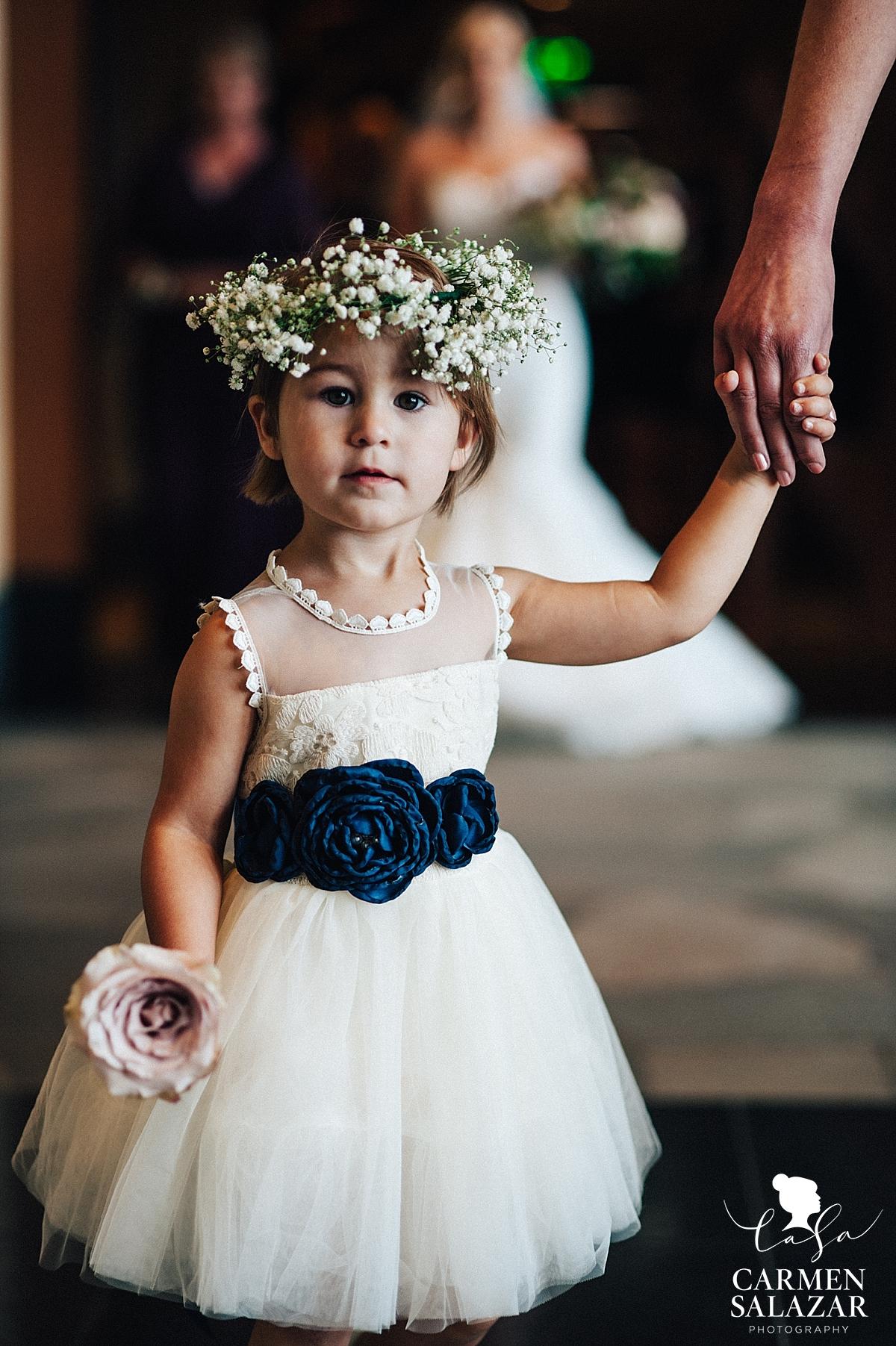 DIY flower crown for adorable flower girl - Carmen Salazar