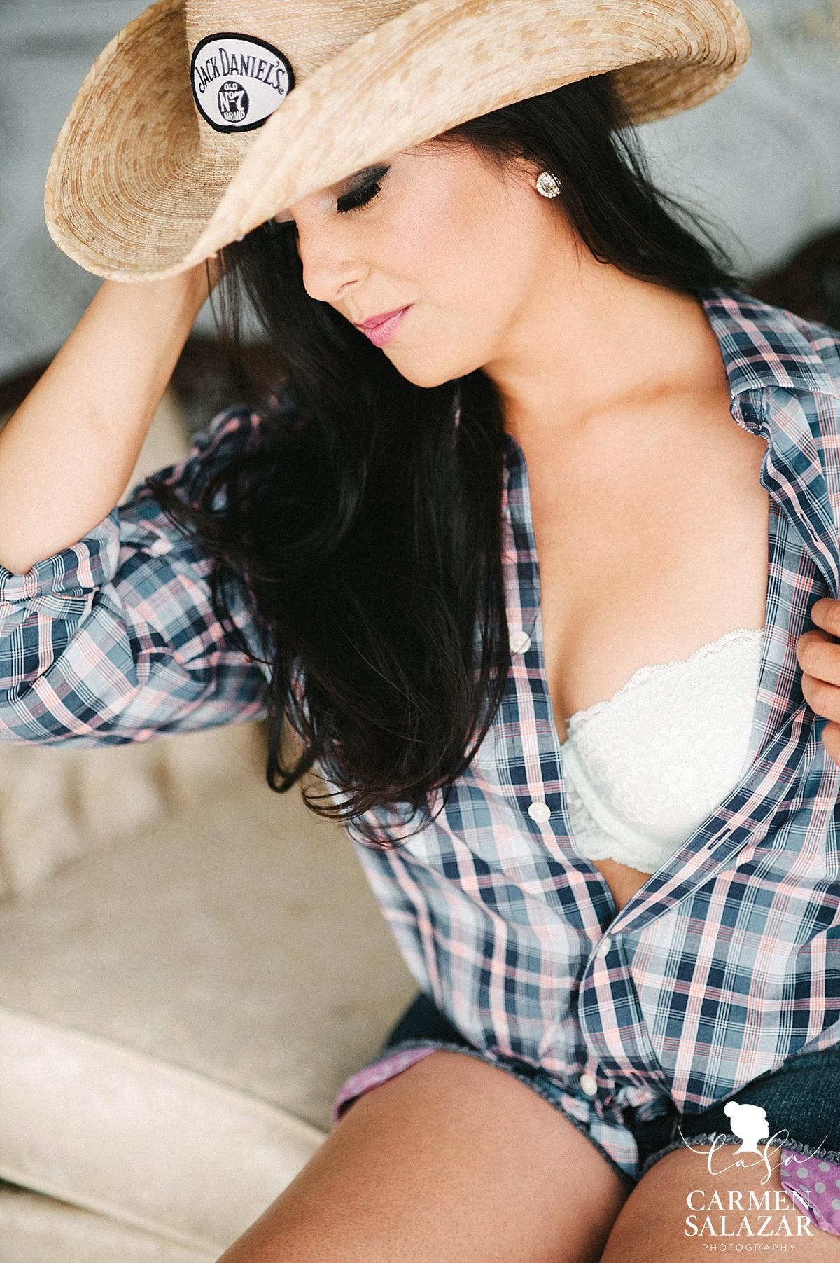 Playful cowgirl boudoir style - Carmen Salazar