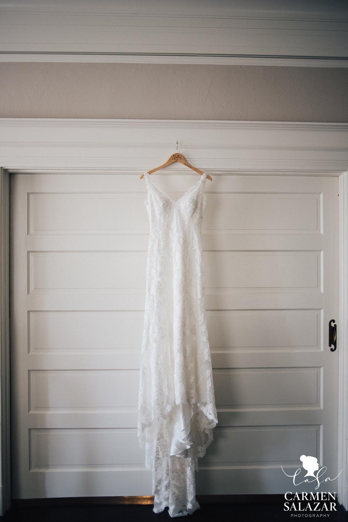 Gorgeous vintage white lace wedding gown at Vizcaya