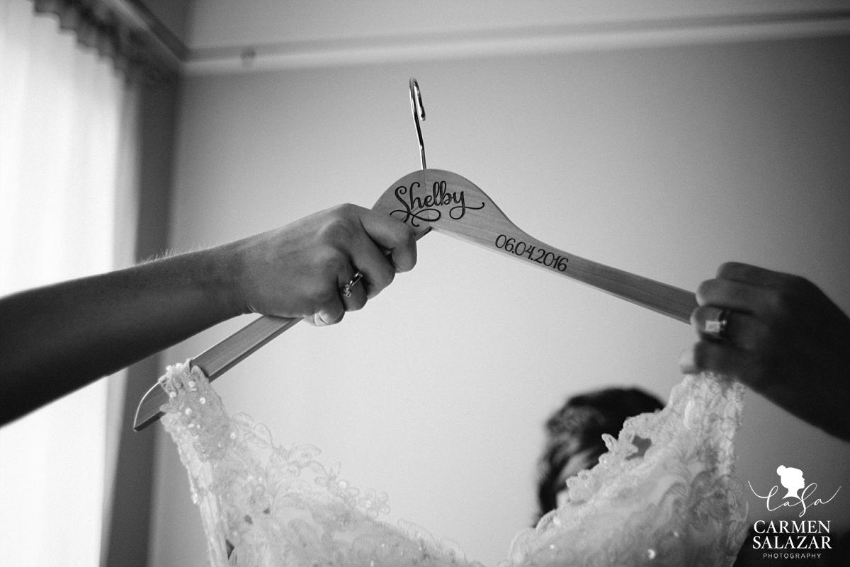 Personalized wedding gown hangers - Carmen Salazar