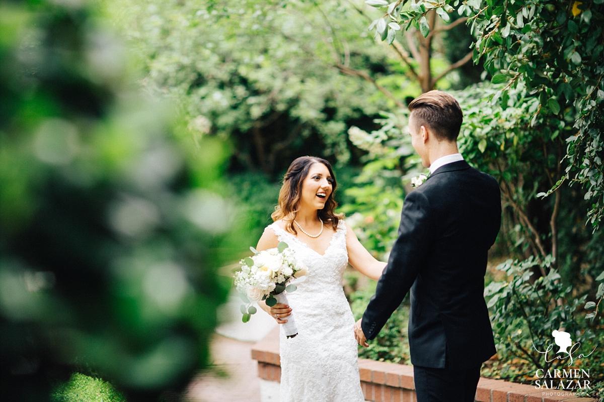Happy bride first look portraits - Carmen Salazar