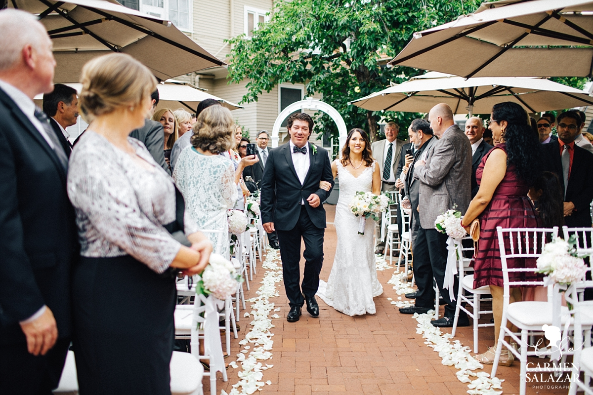 Bride and father walking down the aisle at Vizcaya Wedding by Carmen Salazar
