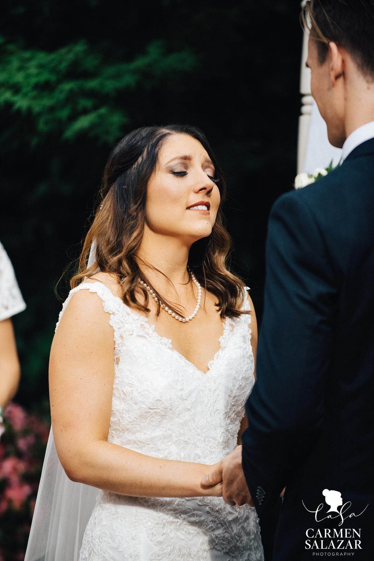 Emotional bride during ceremony - Carmen Salazar