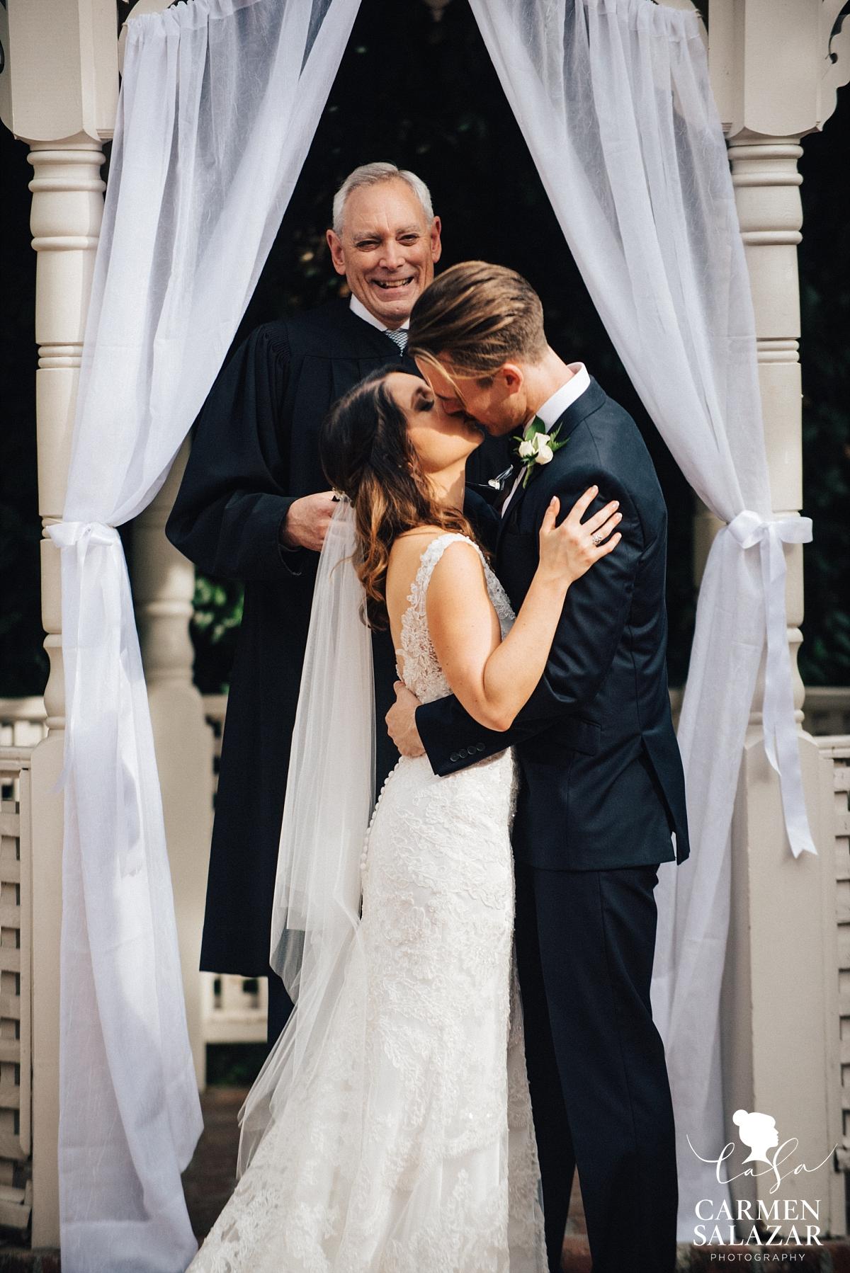 First kiss at Vizcaya summer wedding - Carmen Salazar