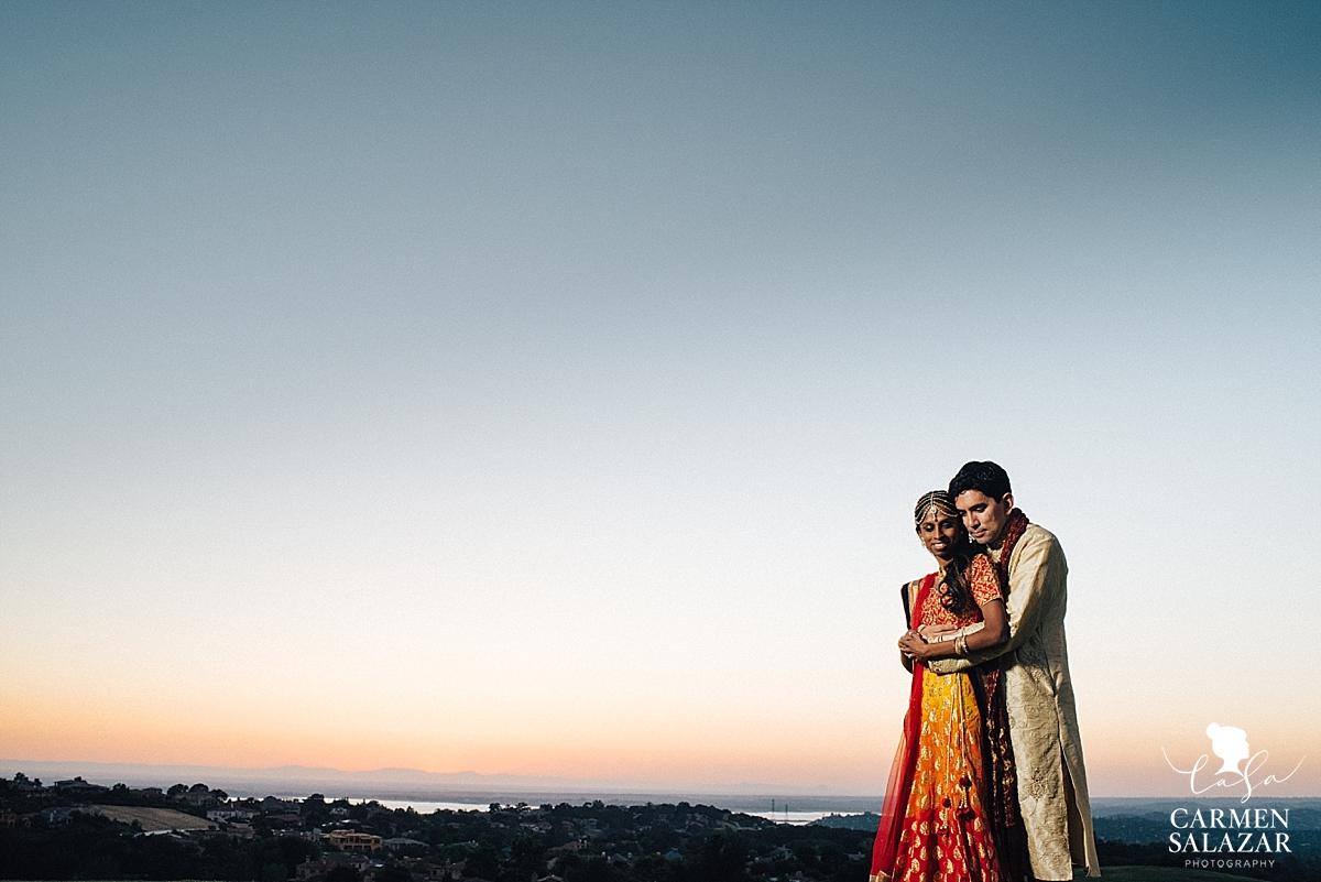 Dreamy sunset Indian wedding portraits - Carmen Salazar