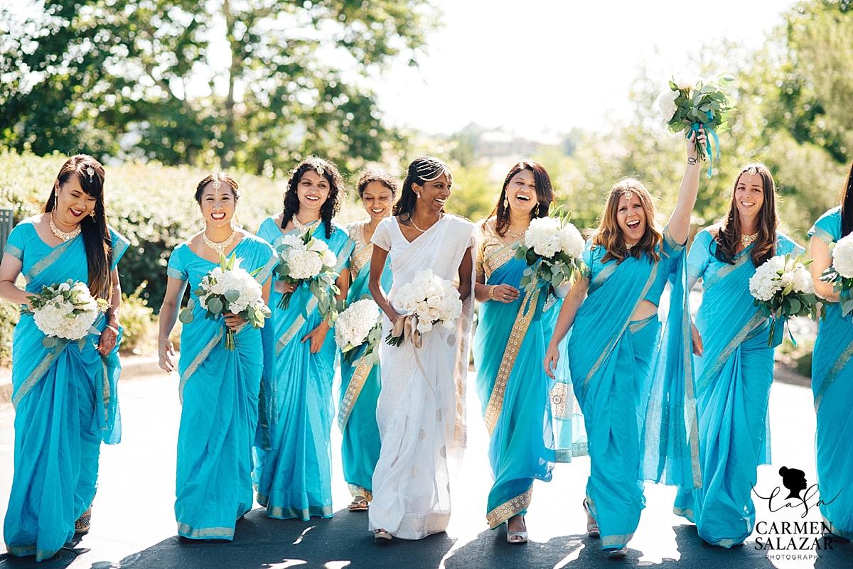 Bride with bridesmaids in gorgeous sarees - Carmen Salazar