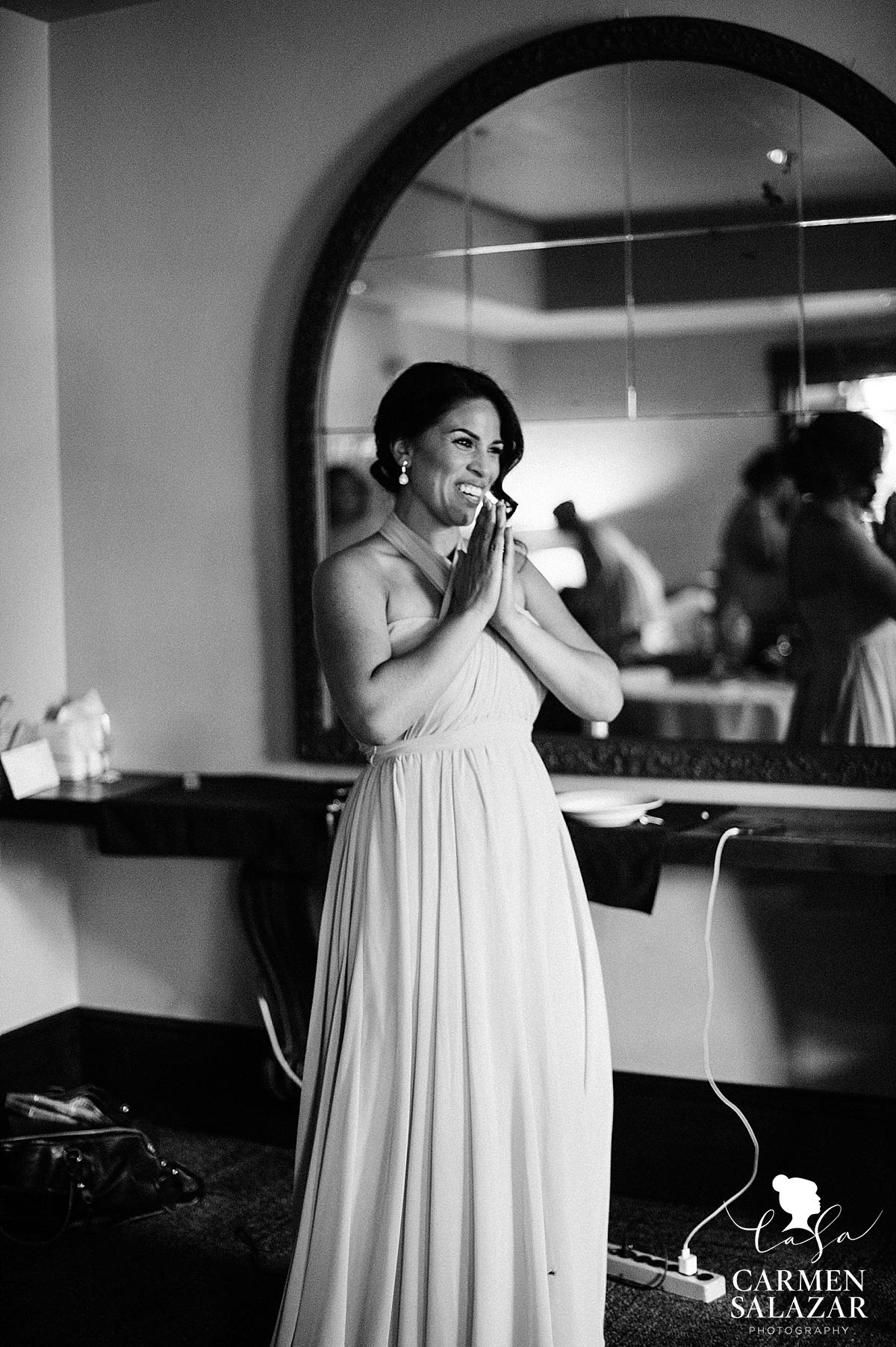 Emotional bridesmaid at Wine and Roses wedding - Carmen Salazar