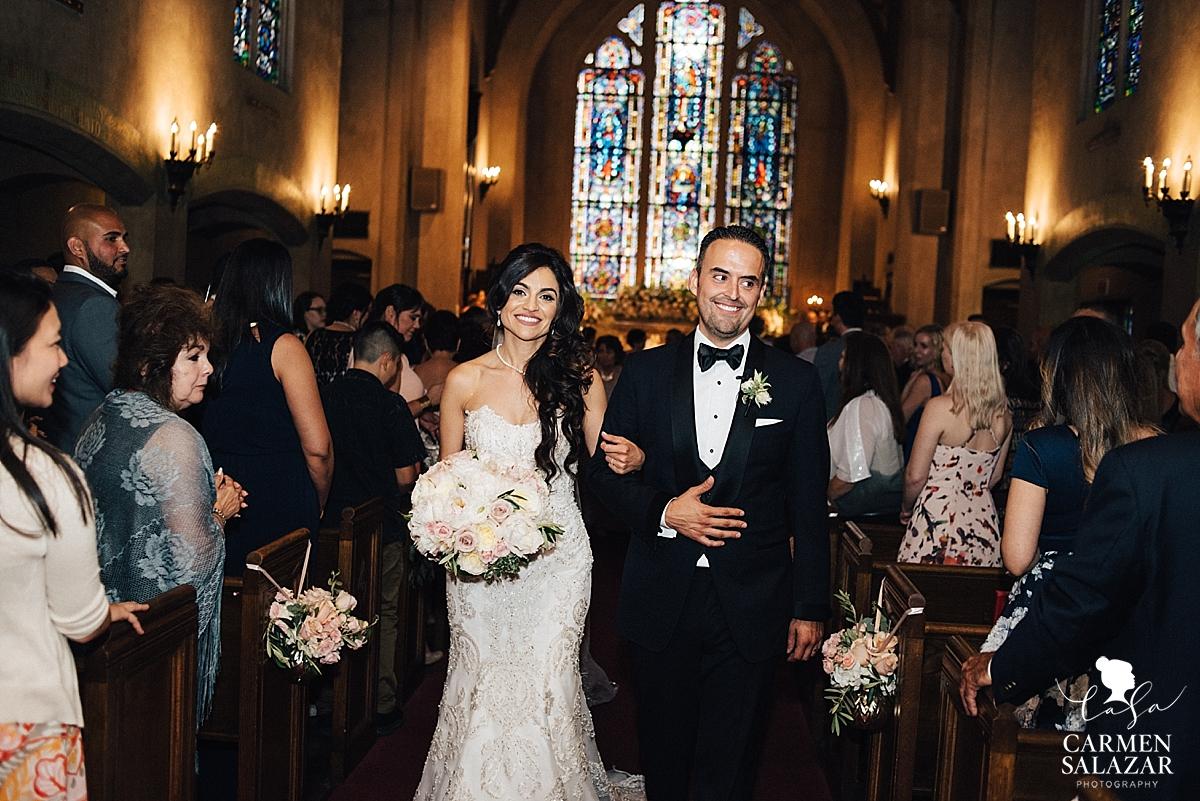 Stockton UOP Morris Chapel newlyweds at catholic wedding - Carmen Salazar