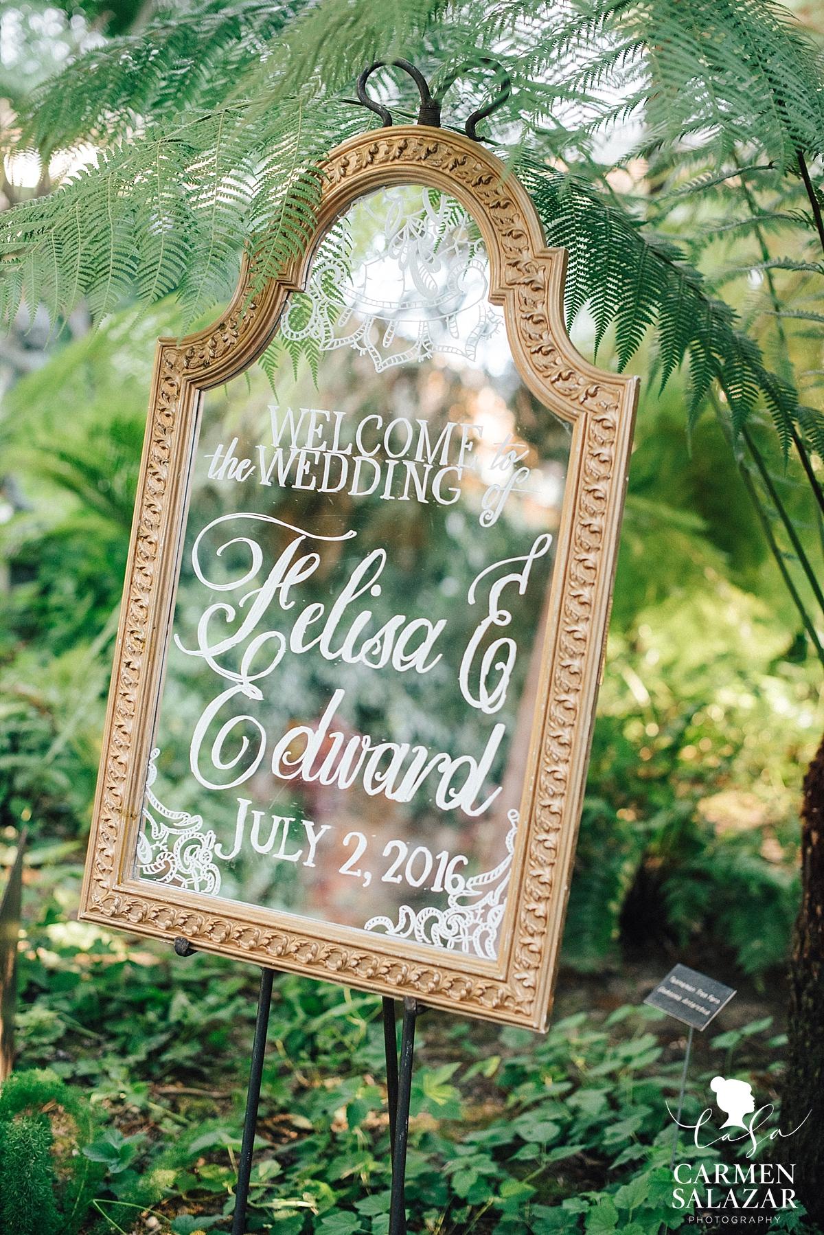 Boho inspired brass wedding mirror sign - Carmen Salazar