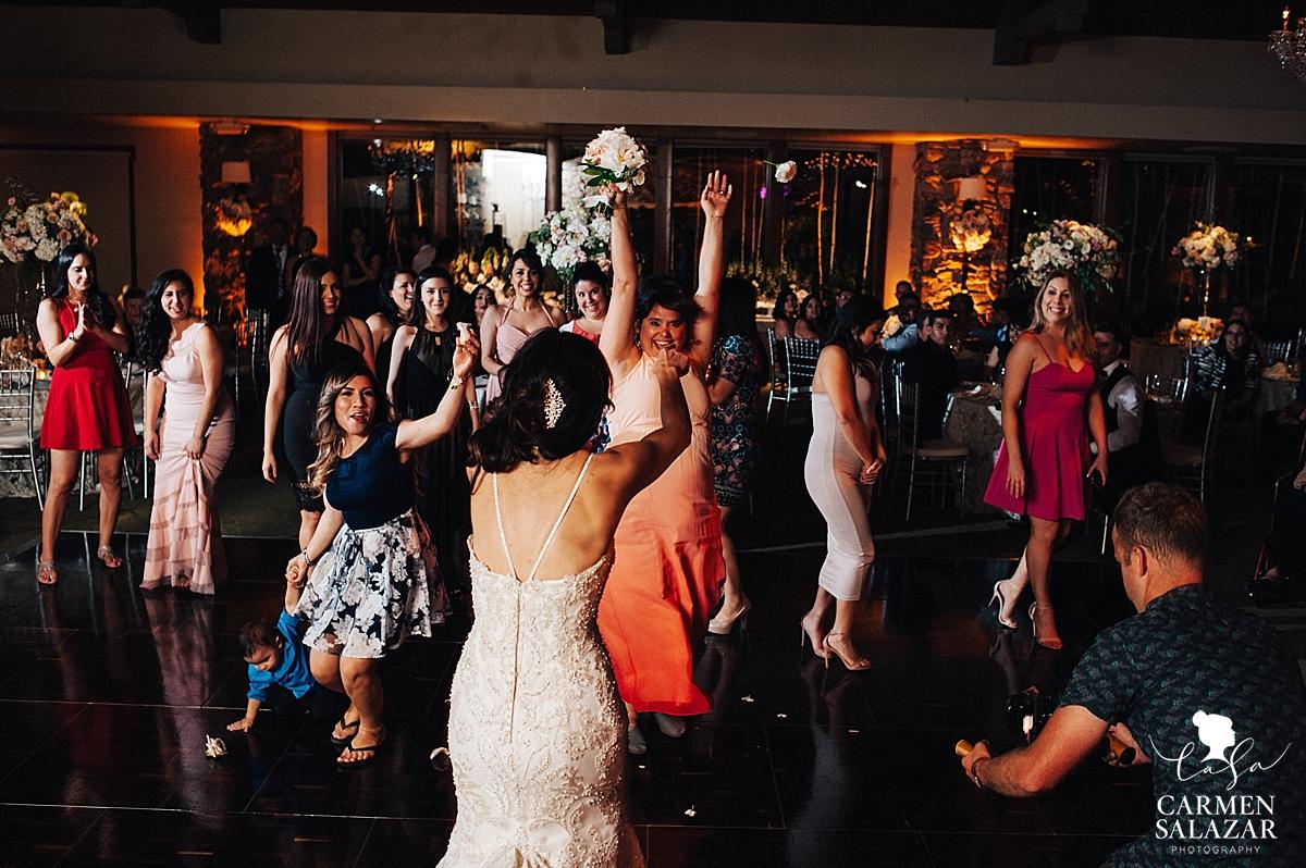 Bouquet toss at Lodi ballroom wedding reception - Carmen Salazar