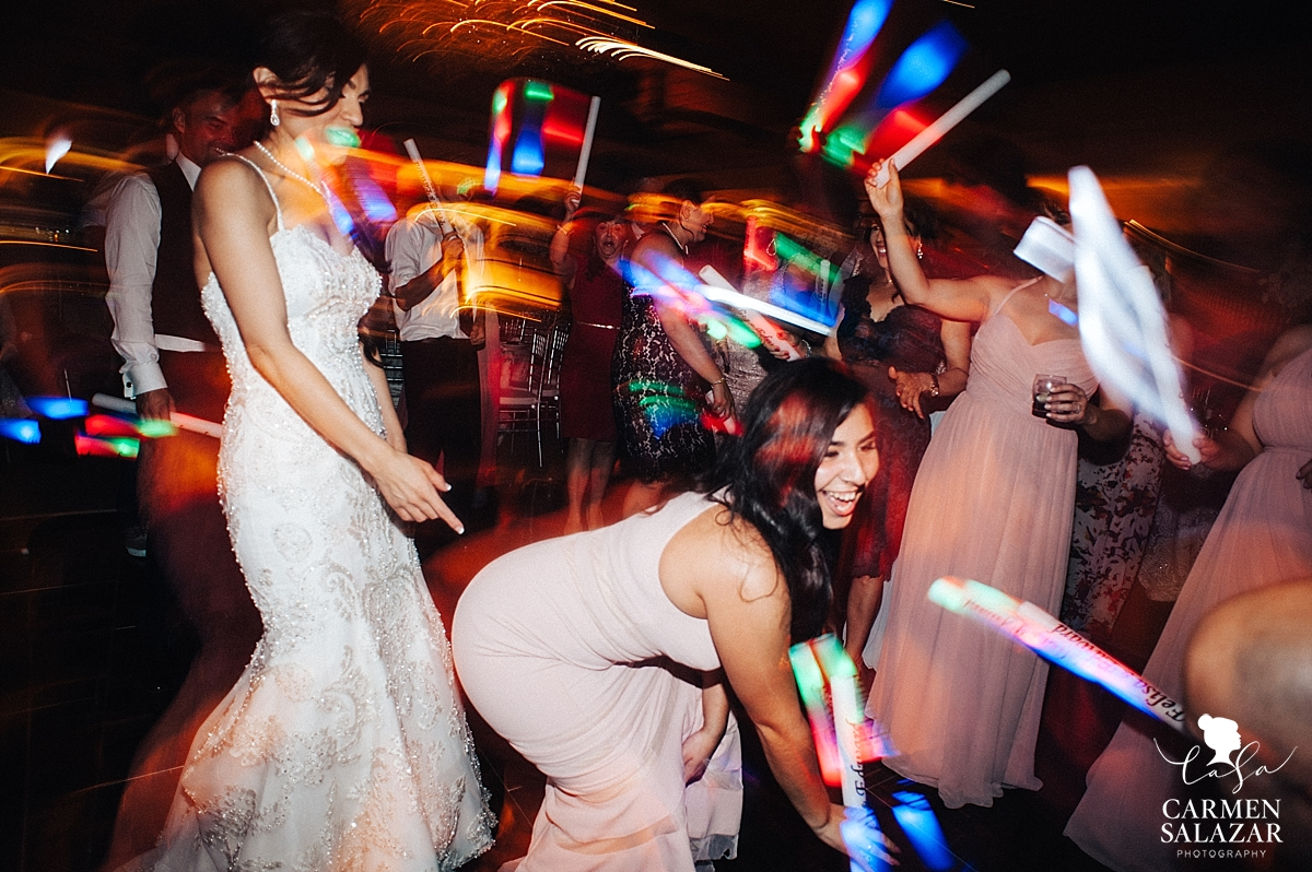Glowstick dance party at Wine and Roses reception - Carmen Salazar