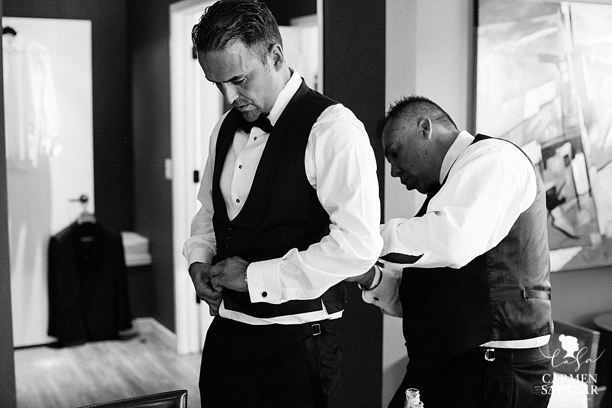 Stockton UOP chapel wedding with groom getting ready
