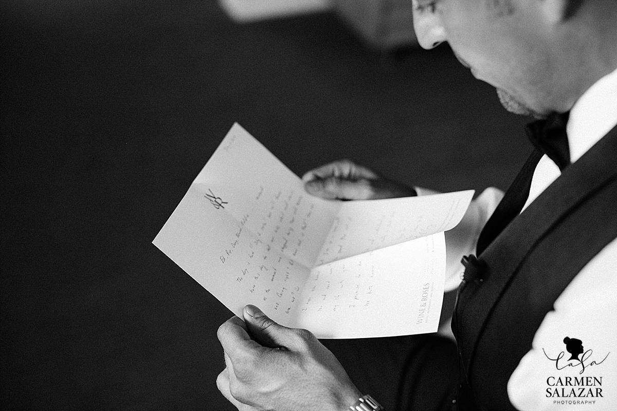 Romantic wedding day love letter - Carmen Salazar