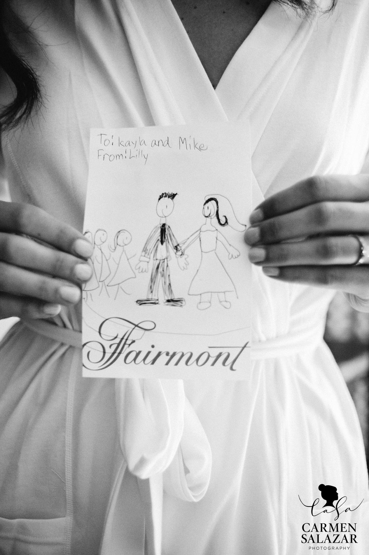 Adorable wedding day note from niece - Carmen Salazar