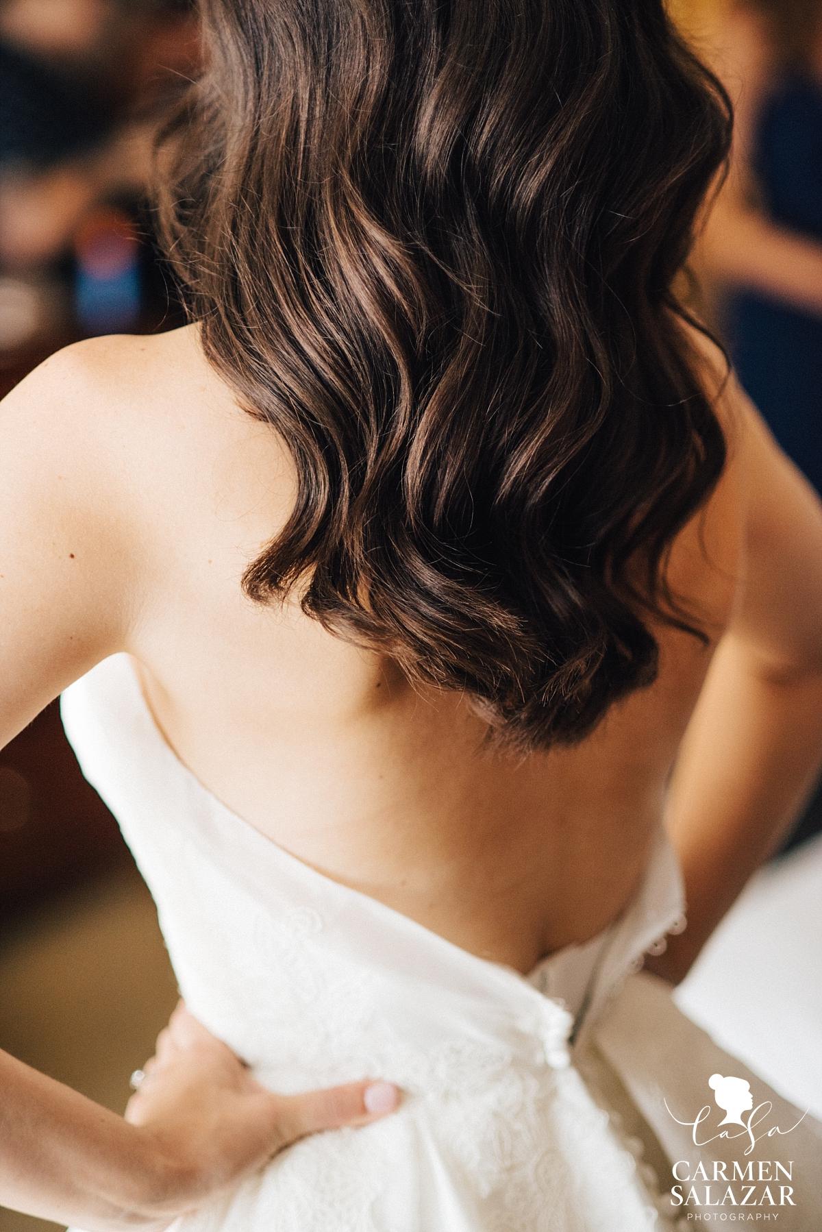 Elegant empire gown detail - Carmen Salazar