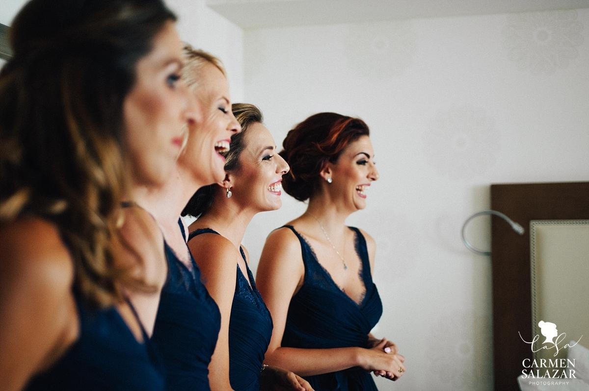 Giggling bridesmaids at Fairmont Hotel - Carmen Salazar