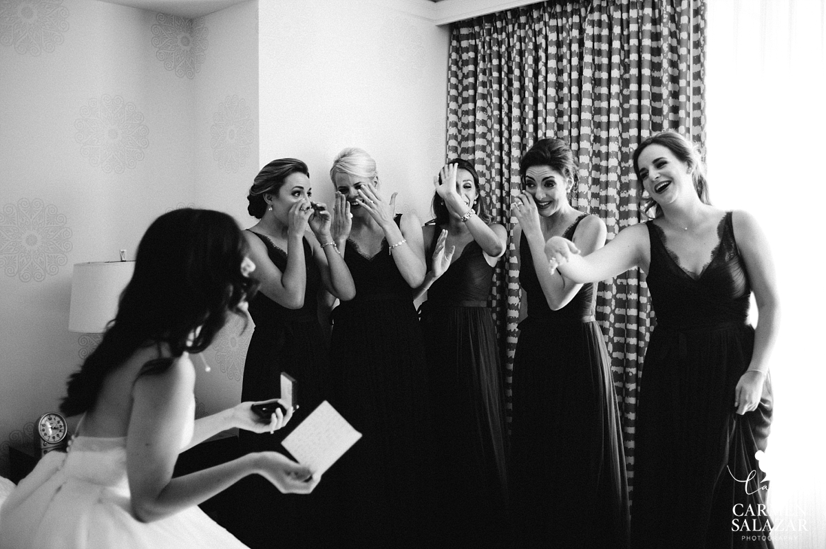 Emotional bridesmaids crying at gift - Carmen Salazar