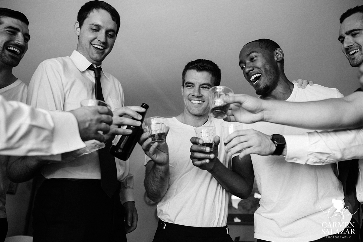 Groom and groomsmen doing shots - Carmen Salazar