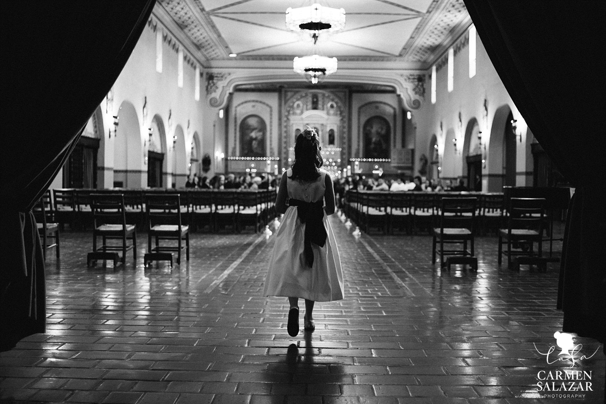 Flowergirl walking down Santa Clara Mission aisle - Carmen Salazar
