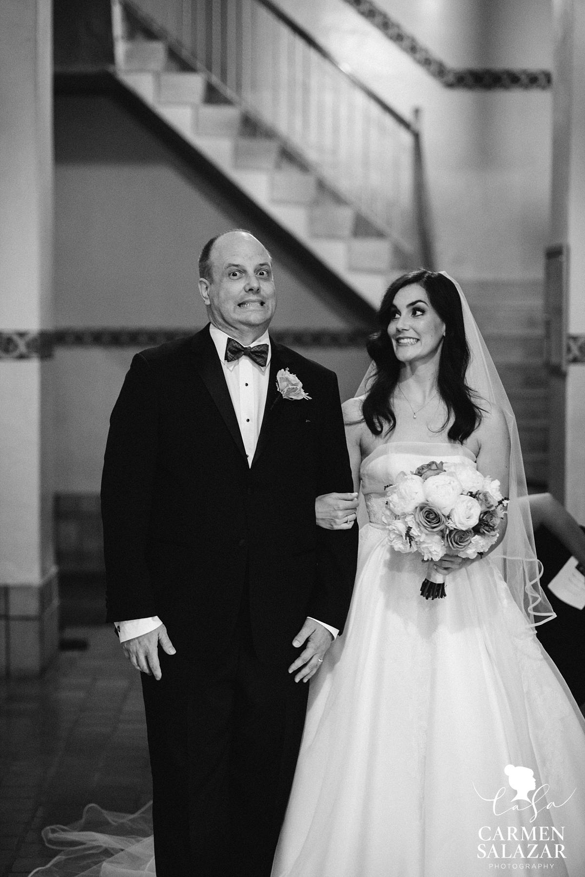 Excited Santa Clara bride with father - Carmen Salazar