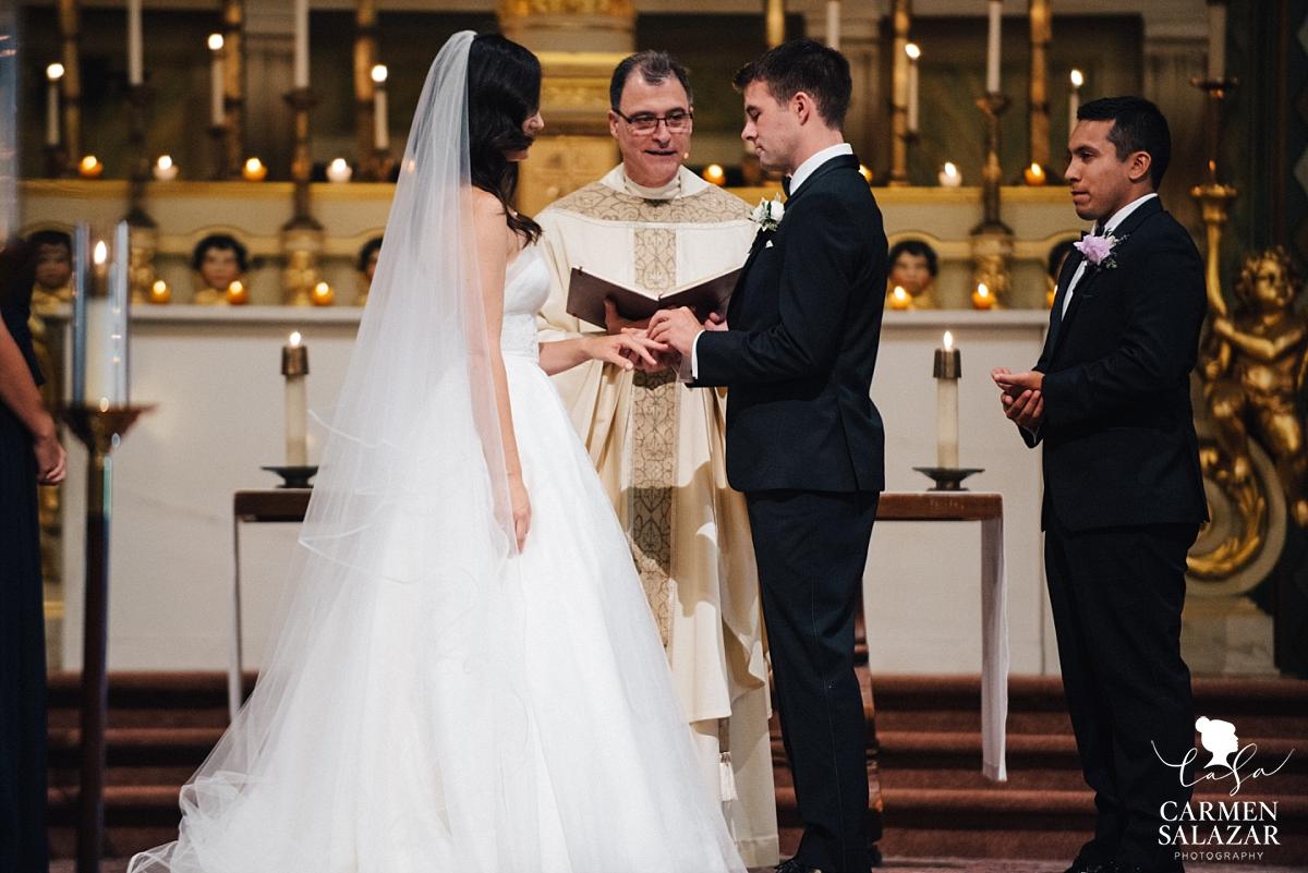 Exchanging of rings at Santa Clara Mission - Carmen Salazar
