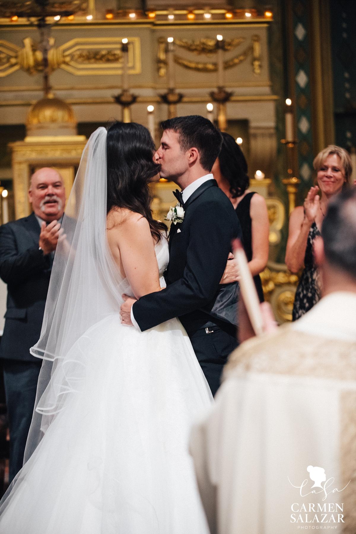 First kiss at Santa Clara Mission wedding - Carmen Salazar