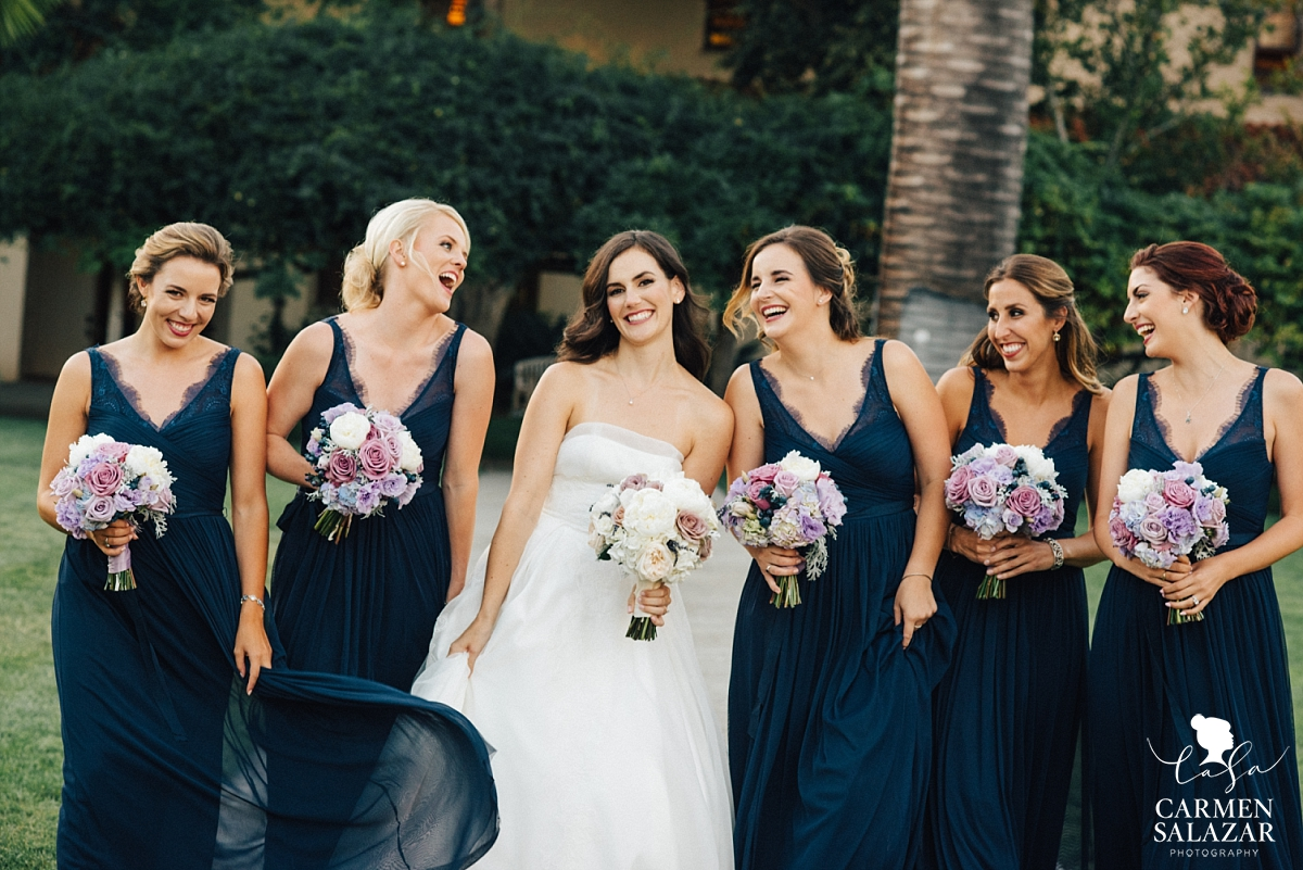 Gorgeous bridal pary in navy lace gowns - Carmen Salazar