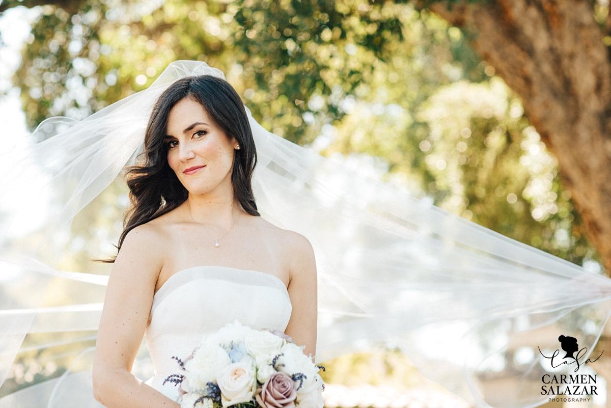 Outdoor bridal veil portraits - Carmen Salazar