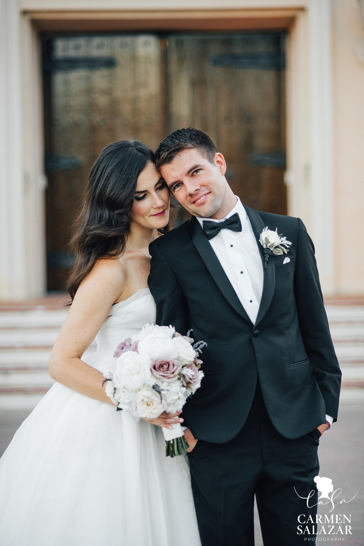 Bride and groom at Santa Clara wedding - Carmen Salazar
