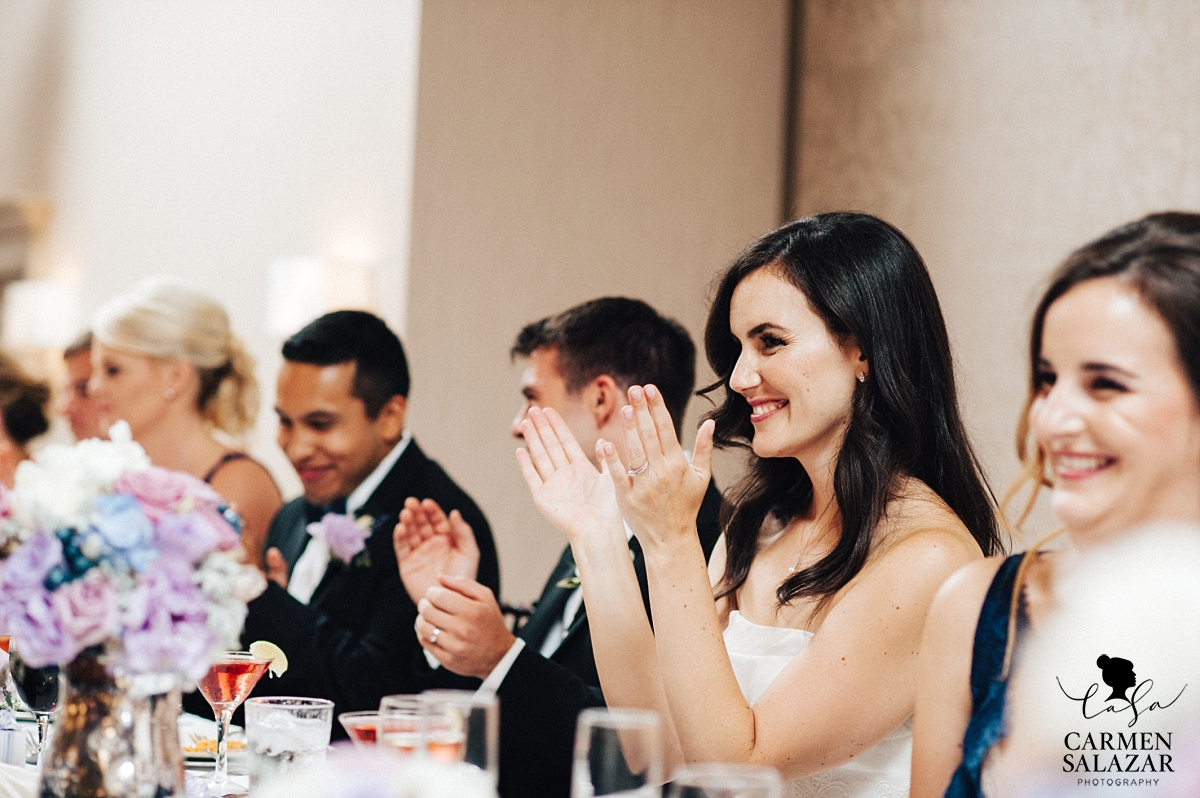 Happy bride applauding father's speech - Carmen Salazar