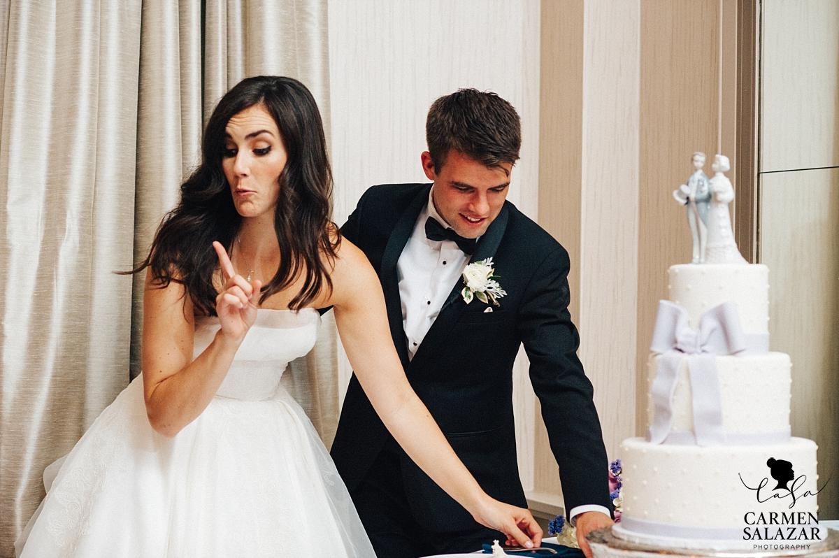 Bride telling flower girls to wait for cake - Carmen Salazar