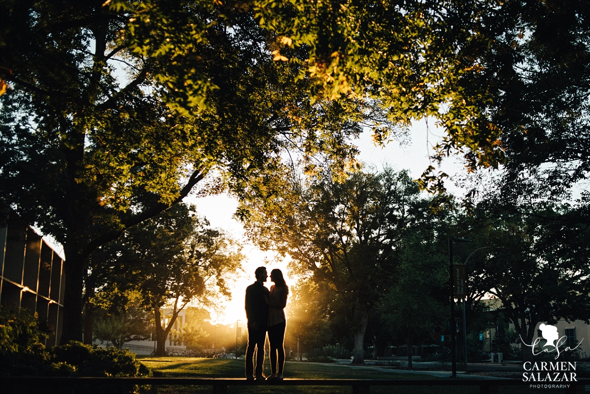 Sunburst Silhouette Engagement Photography - Carmen Salazar