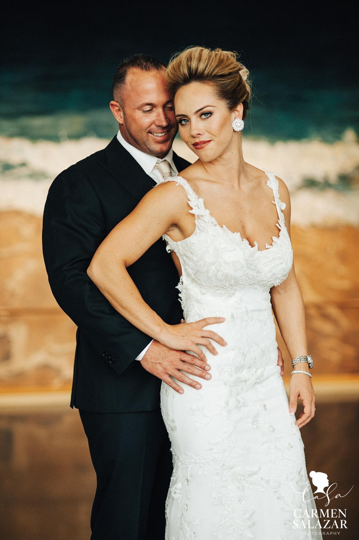 Crocker Art Museum elegant bride and classic groom - Carmen Salazar