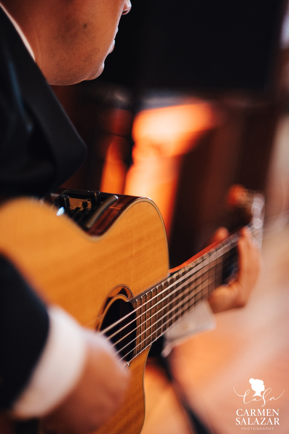 Acoustic guitarist at Crocker Art Museum reception - Carmen Salazar