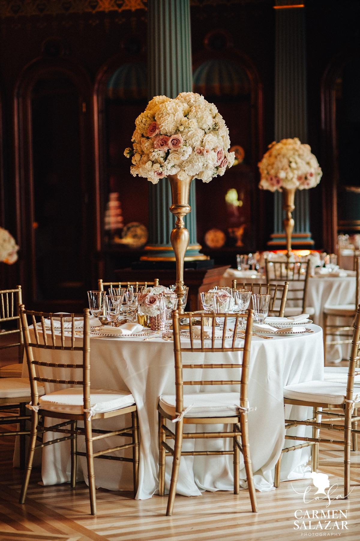 Ornate floral table details at Crocker Art Museum - Carmen Salazar