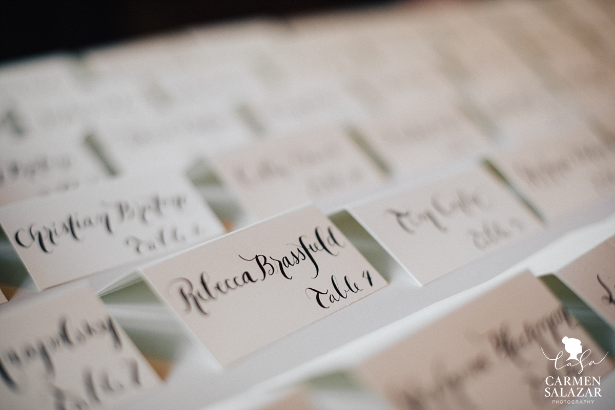 Hand-lettered reception place cards - Carmen Salazar