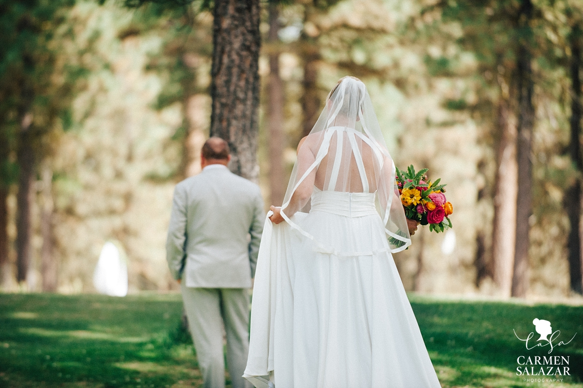 Tahoe outdoor first look wedding photography - Carmen Salazar