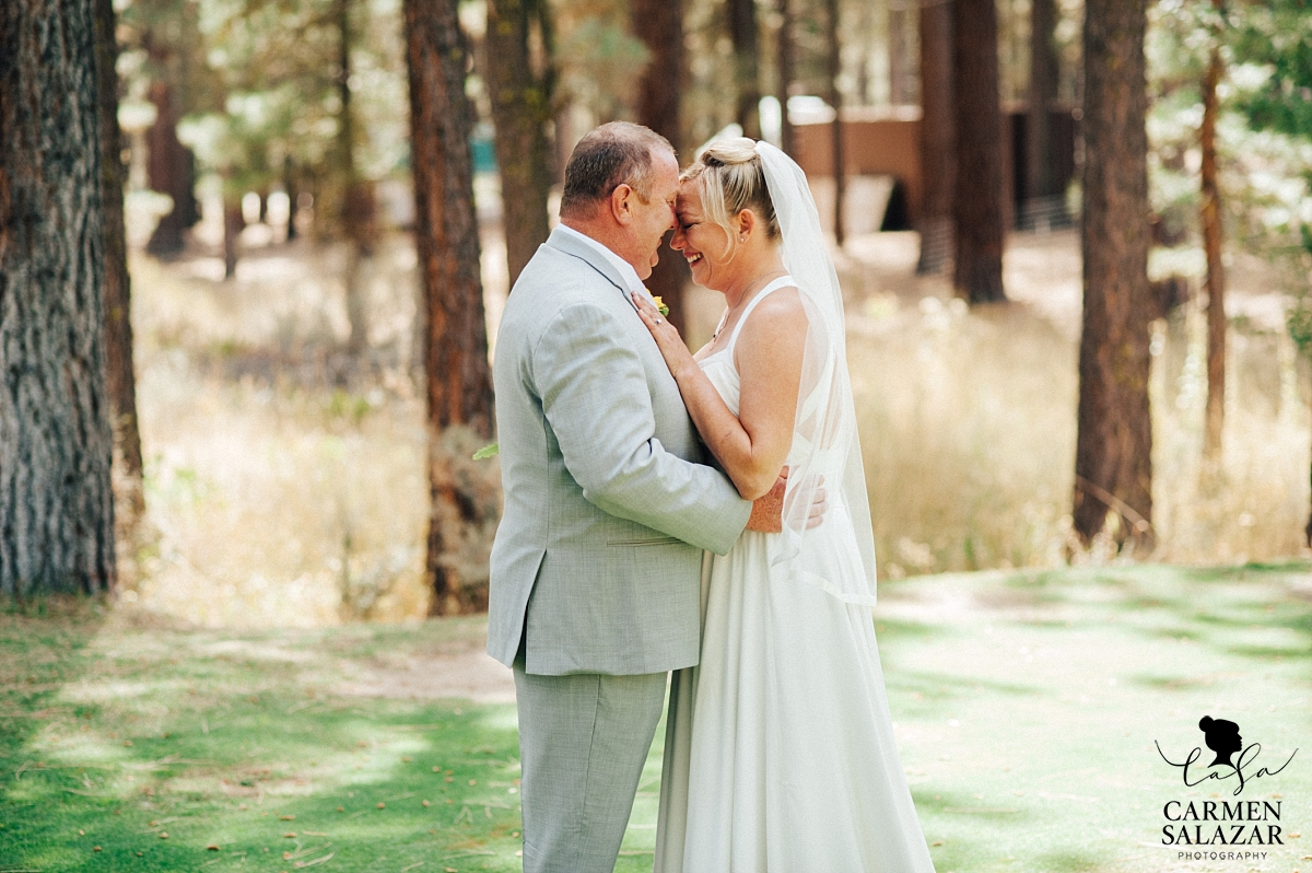Sweet first look at Chalet View Lodge wedding - Carmen Salazar